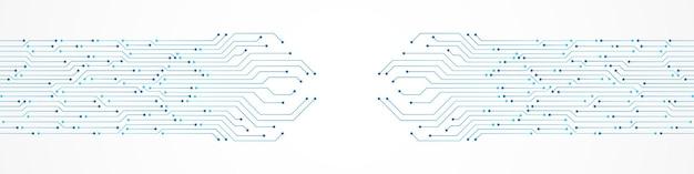 Fond de technologie abstraite, motif de carte de circuit imprimé bleu, puce électronique, ligne électrique, espace vide