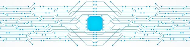 Fond de technologie abstraite, motif de circuit imprimé bleu, puce électronique, ligne électrique
