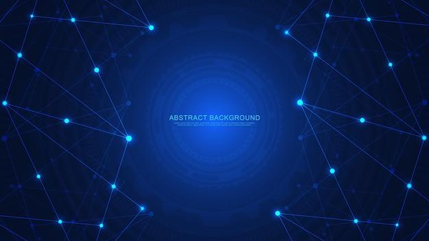 Fond de technologie abstraite avec points et lignes de connexion. technologie numérique de connexion et de communication au réseau mondial.