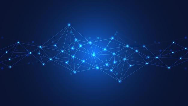 Fond de technologie abstraite avec points et lignes de connexion