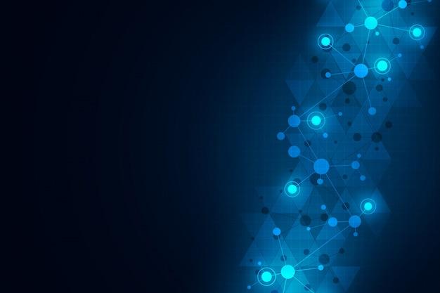Fond de technologie abstraite avec des structures moléculaires et un réseau de neurones