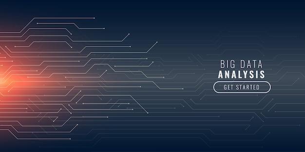 Fond de technologie big data avec des lignes de circuit