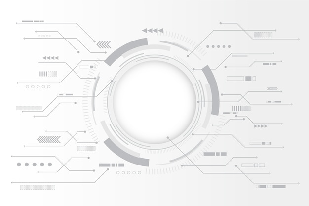 Fond de technologie blanc avec graphique circulaire