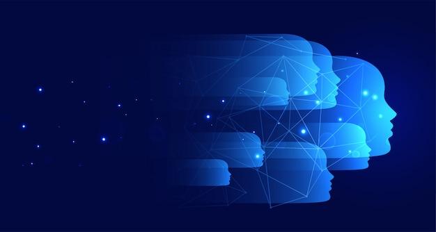 Fond de technologie bleue avec de nombreux visages