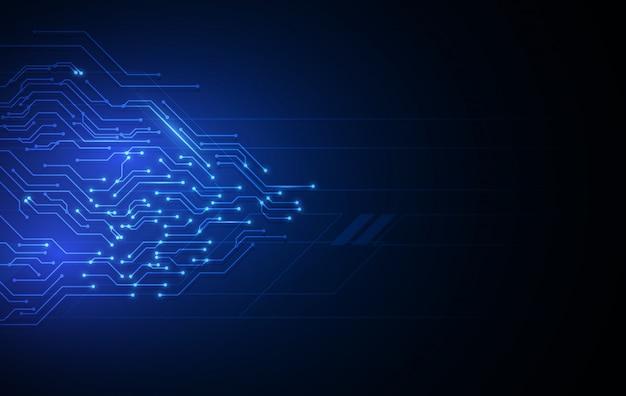 Fond de technologie bleue avec schéma électrique.