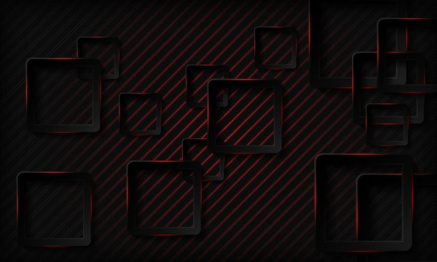 Fond de technologie carré foncé avec effet néon rouge