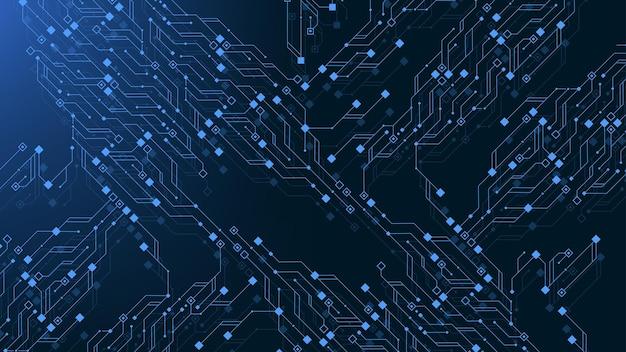 Fond de technologie de carte de circuit imprimé avec système de connexion de données numériques de haute technologie. fond de conception électronique informatique abstrait. carte mère hi-tech, science, illustration vectorielle de technologie futuriste
