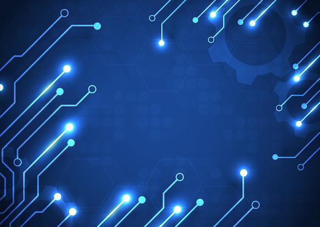 Fond de technologie de carte de circuit imprimé avec système de connexion de données numériques de haute technologie et ordinateur électronique