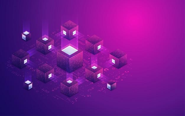 Fond de technologie de chaîne de bloc