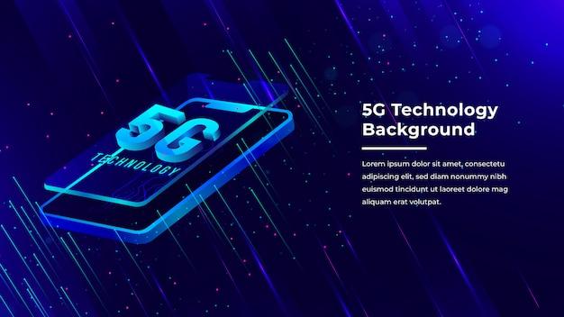 Fond de technologie cinq g avec du texte 3d points lumineux bleus sortant du téléphone