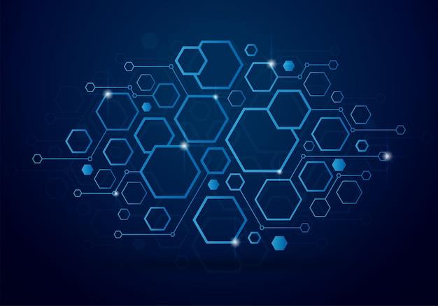 Fond de technologie avec concept géométrique à six pans creux