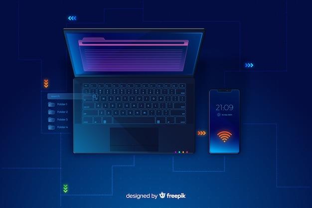 Fond de technologie dégradé ordinateur portable vue de dessus