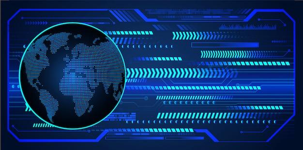 Fond de technologie future du circuit cyber du monde bleu