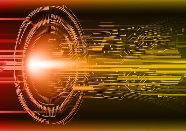 Fond de technologie future oeil orange cyber circuit