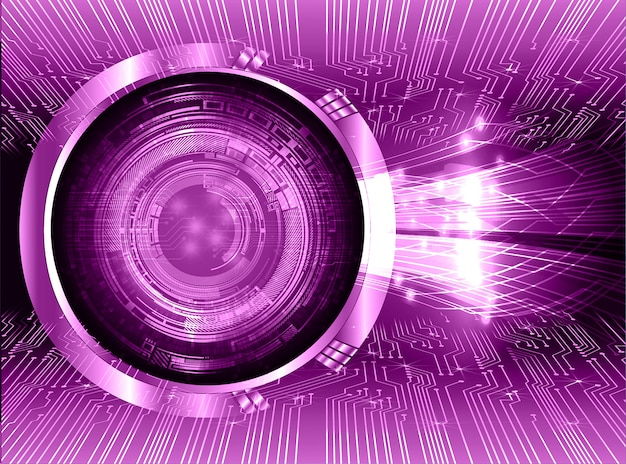 Fond de technologie future oeil violet cyber circuit