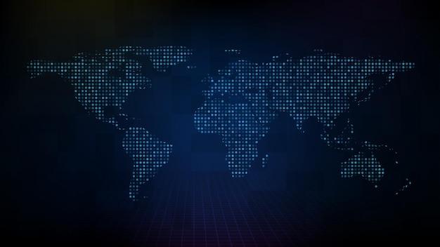 Fond de technologie futuriste abstrait de carte du monde numérique bleu