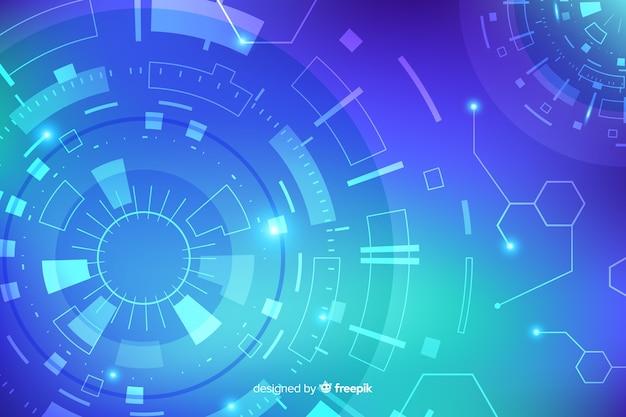 Fond de technologie hud abstrait bleu