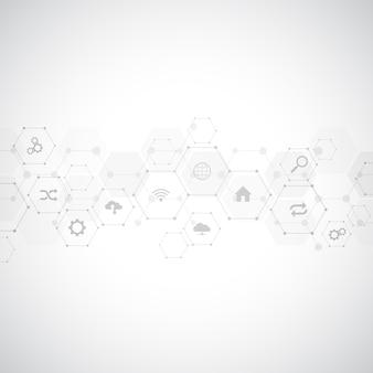 Fond de technologie avec des icônes et des symboles plats