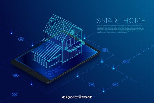 Fond de technologie isométrique dégradé maison intelligente
