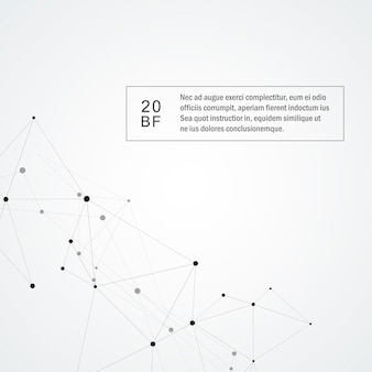 Fond de technologie avec ligne connectée et points