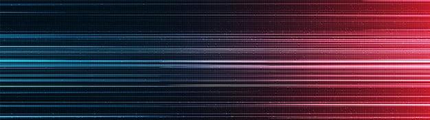 Fond de technologie de lumière de vitesse rouge et bleue de panorama, conception de concept d'onde sonore et numérique de haute technologie, espace libre pour le texte en entrée, illustration vectorielle.