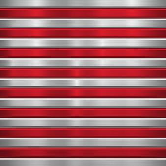 Fond de technologie en métal avec des rayures horizontales rouges, texture et biseaux chromés brossés polis
