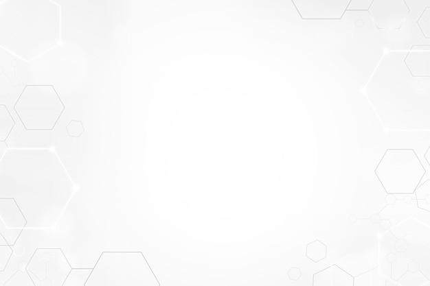 Fond de technologie numérique avec cadre hexagonal en ton blanc