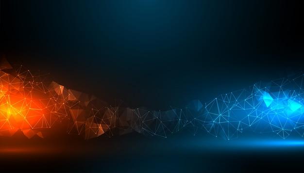 Fond de technologie numérique avec effet de lumière bleue et orange