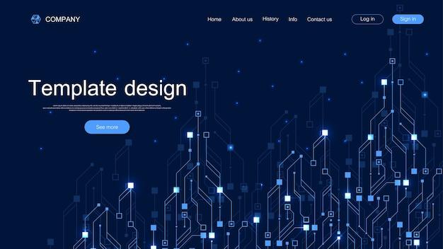 Fond de technologie de page de destination avec des textures de circuit imprimé abstraites.
