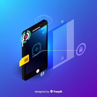 Fond de technologie portable isométrique