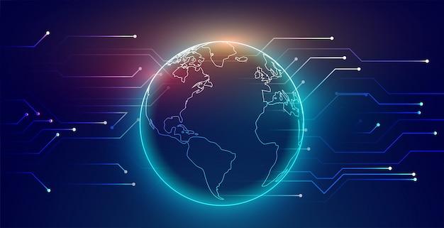 Fond de technologie de réseau de connexion mondiale numérique