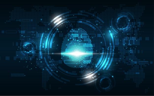 Fond de technologie de sécurité concept d'empreinte digitale scan