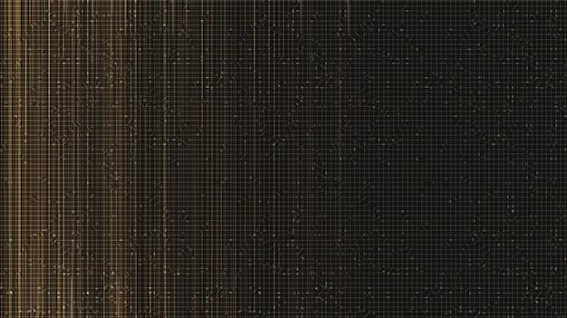 Fond de technologie de sécurité du circuit doré, conception de concept numérique et de connexion, illustration vectorielle