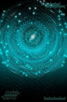 Fond technologique futuriste bleu dans le style cyberpunk. art numérique. conception de cartes postales, affiches, bannières. illustration vectorielle.