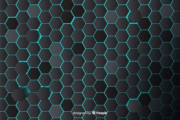 Fond technologique en nid d'abeille en bleu