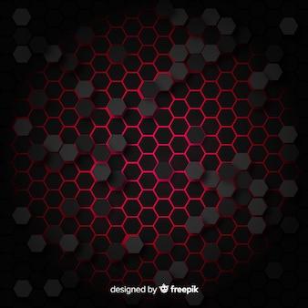 Fond technologique en nid d'abeille en rouge
