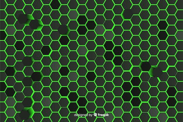 Fond technologique en nid d'abeille en vert