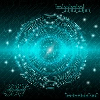Fond technologique numérique abstrait bleu avec divers éléments en rotation
