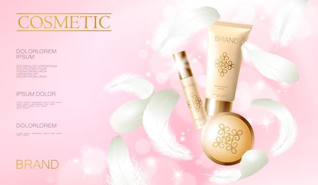Fond de teint réaliste. tube de pulvérisation, contenant cosmétique dorée. modèle de publicité