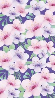 Fond de téléphone portable avec de belles fleurs à l'aquarelle