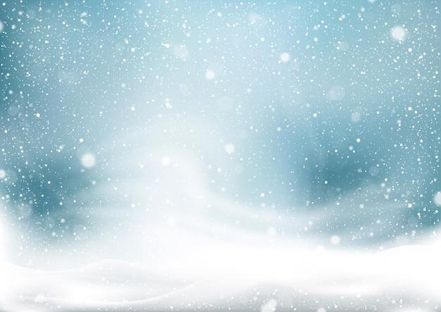 Fond de tempête de neige en hiver