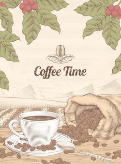 Fond de temps de café de loisirs de style de gravure avec une tasse de café et de haricots dans un sac de jute