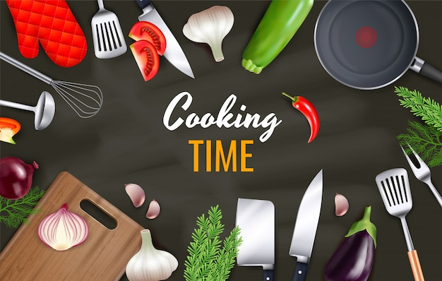 Fond de temps de cuisson avec des ustensiles de cuisine et des objets de batterie de cuisine réalistes
