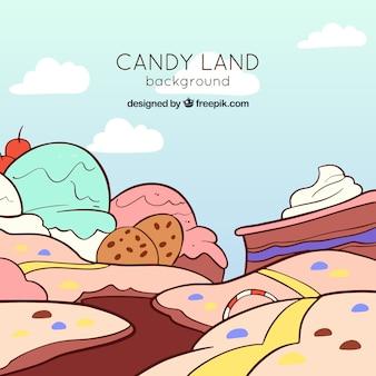 Fond de terre de bonbons dans un style aquarelle