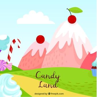 Fond de terre de bonbons avec de délicieuses montagnes