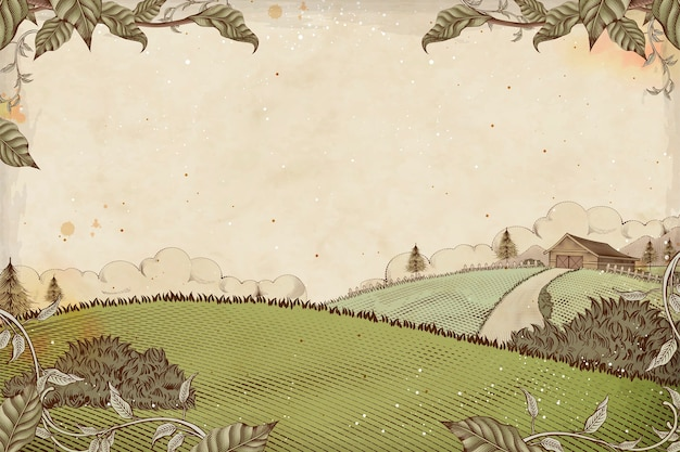 Fond de terres agricoles de style de gravure