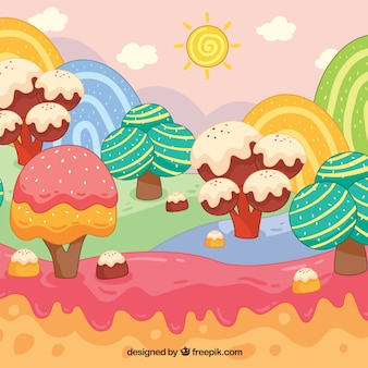 Fond de terres colorées de bonbons dans un style dessiné à la main