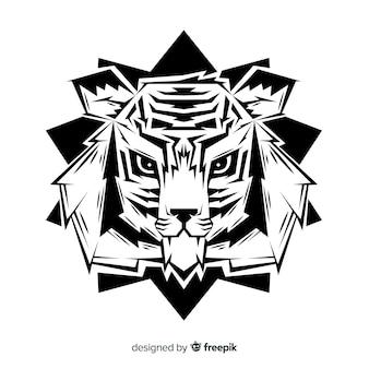 Fond de tête de tigre dessiné à la main