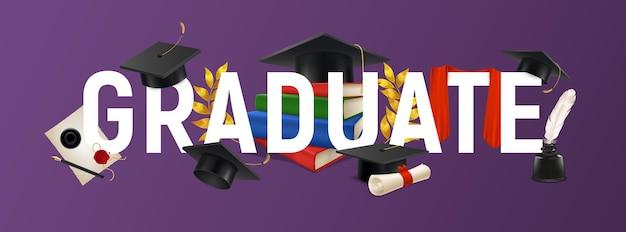 Fond avec texte diplômé et éléments de graduation