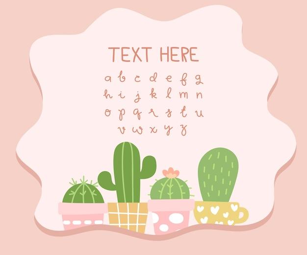 Fond de texte remplaçable de cactus mignon.